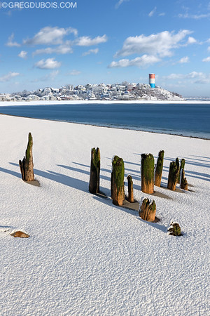 Yirrell Beach and Cottage Hill Winthrop with Fresh Snow and Decayed Pier