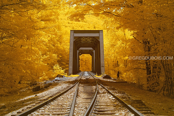 Historic Railroad Trestle in White Mountains New Hampshire in Infrared