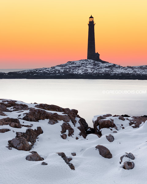 Cape Ann Light Station (Thacher Island North Tower) at Sunrise from Rockport Massachusetts