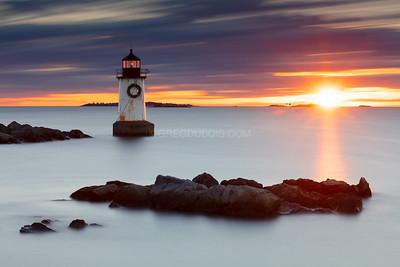 Fort Pickering Light (Winter Island Light) in Salem Massachusetts at Sunrise