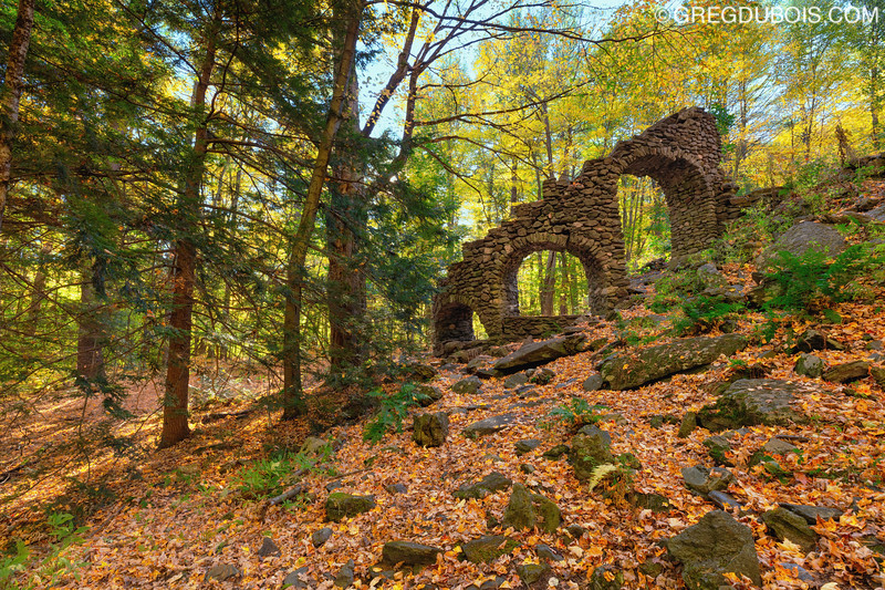 Madame Sherri Castle Ruins with Fall Foliage in West Chesterfield New Hampshire