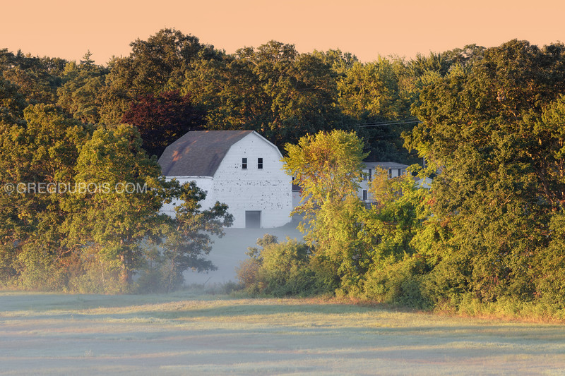 Old Massachusetts Barn in Fall from Amesbury Massachusetts with Golden Light and Fog