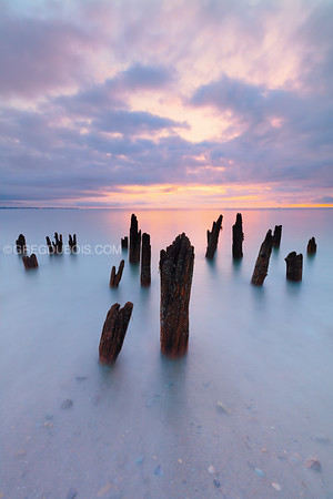 Decayed Pier at Sunrise in the Boston Harbor Islands
