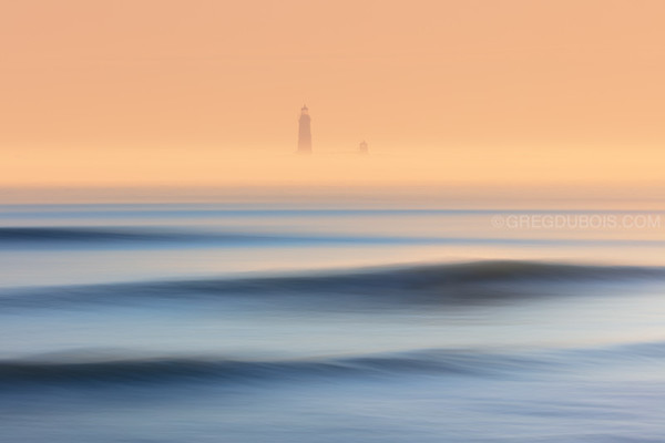 Graves Lighthouse with Sea Smoke at Sunrise from Winthrop Beach Cottage Hill
