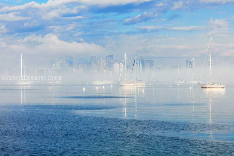 Boston Skyline and Sailboats with Foggy Sunrise from Crystal Cove Winthrop Massachusetts