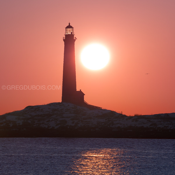 Thacher Island Lighthouse at Sunrise from Rockport Massachusetts