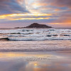 Nahant Beach Sunrise with Egg Rock and Waves over Wet Sand Reflection