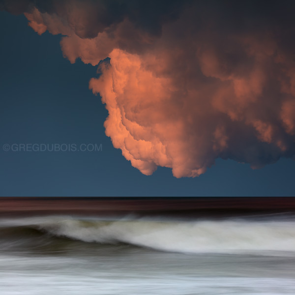 Winthrop Beach Sunset Thunderhead with Waves in Motion