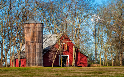Red Barn with Silo and Windmill