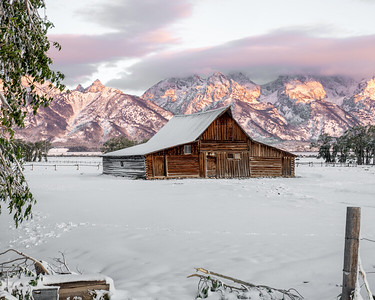 Barn in Snow at Sunrise