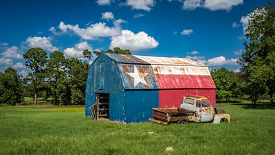 Texas Flag Barn and Truck