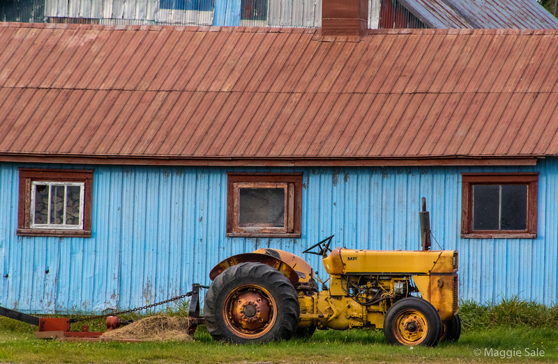 Barn and tractor near Douglastown