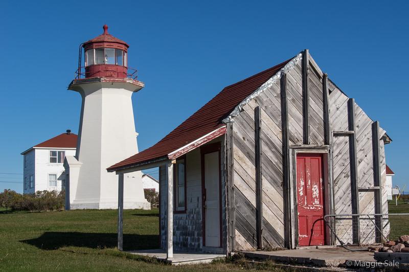 Lighthouse and buildings at Cap d'Espoir near Percé