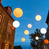 Lights at dusk in a pedestrian street in Old Quebec City