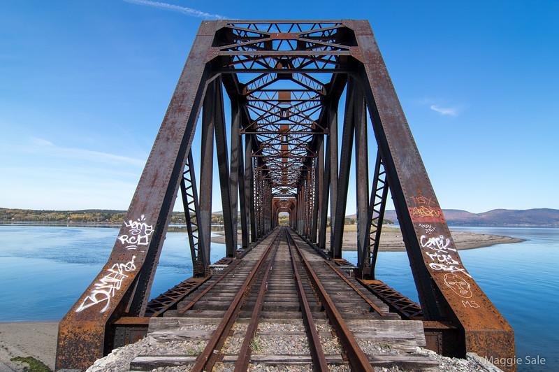 The disused railway bridge across Douglastown Bay mouth