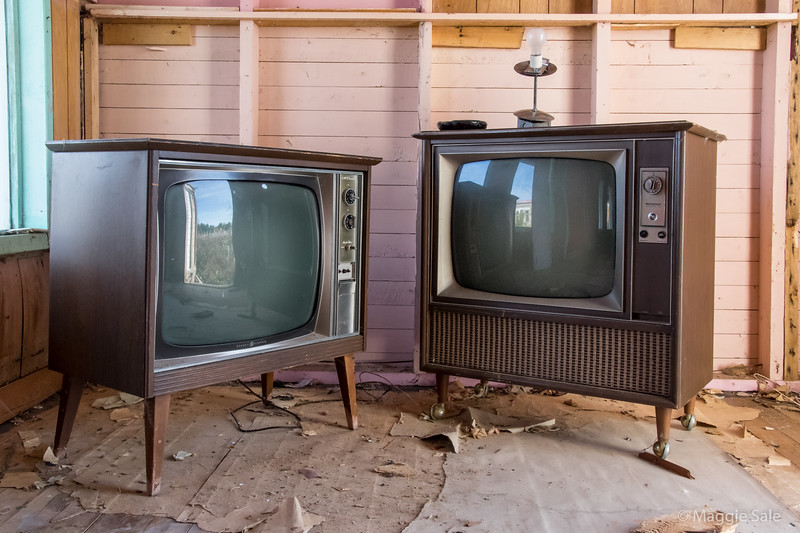 Old TV's in abandoned motel near Belle Anse - remember those?