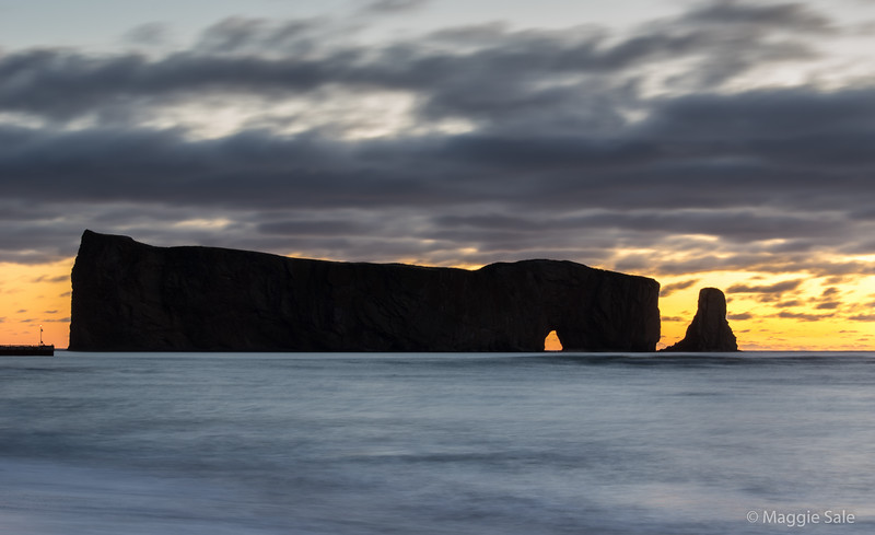 Percé Rock at dawn. If you want to get a picture of the rising sun through the arch you need to be there between Aug. 9-11 each year!