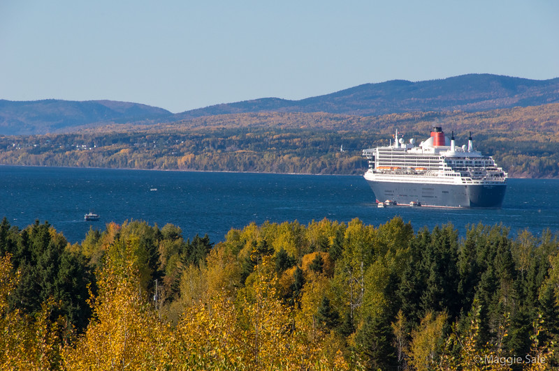 The Queen Mary 2 ship arrived in Gaspé Bay the day after we arrived! She had to drop anchor in the bay - no way could Gaspé dock accommodate a ship of this size!