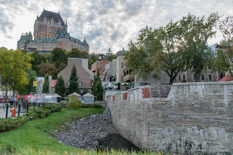 Chateaux Frontenac seen from the lower section of Old Quebec City.