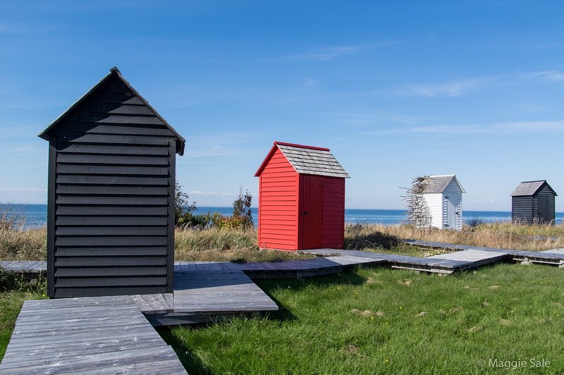 Huts along the St. Lawrence River near Pointe-au-Pere east of Rimouski