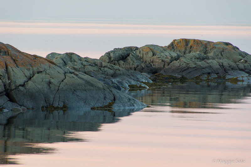 Rocks at dusk from the shore of our guest house near Grand Metis