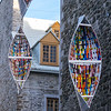 "An interesting collection of hanging ""boats"" in old Quebec City."