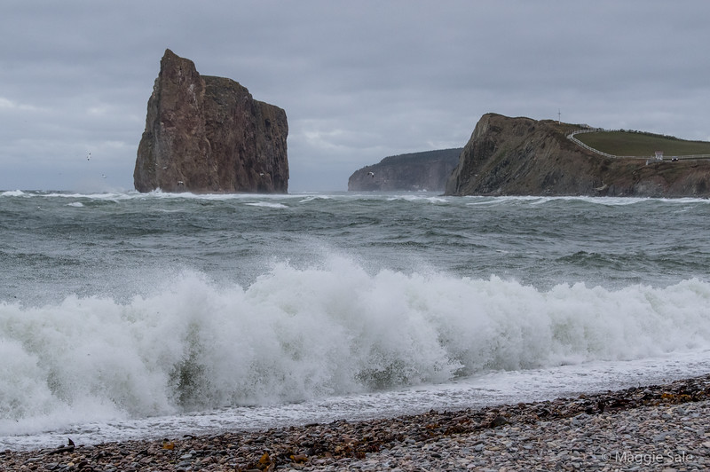 Percé Rock on the day the remnants of Hurricane Matthew passed by. High winds but no rain.