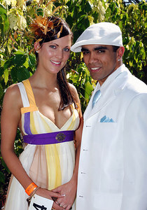 29 JUL 2006 TOWNSVILLE, QLD - Fashions on the Field entrants Jess Laycock and Jordan Gee-Hoy and the Jupiters Townsville Cup Race Day - PHOTO: CAMERON LAIRD