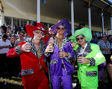 29 JUL 2006 TOWNSVILLE, QLD - Gary Barton, Laurie Lobie and Steve Miller dazzle the crowds at the Jupiters Townsville Cup Race Day - PHOTO: CAMERON LAIRD