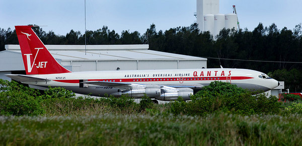 John Travolta's Boeing 707 (rego N707JT) sits on the tarmac at Brisbane International Airport.  Travolta has been in Australia to celebrate Qantas airlines 85th brithday - PHOTO: CAMERON LAIRD (Ph: +61 418238811)