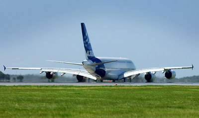 After a five day Australian tour the Airbus A380 departs Australia bound for Singapore.  Australia's national carrier Qantas has placed an order for twelve A380s, the world's largest passenger aircaft capable of carrying up to 840 passengers - PHOTO: CAMERON LAIRD (Ph: +61 418238811)