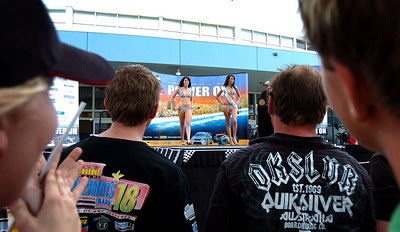 15 JUL 2006 TOWNSVILLE, QLD - Motorsport fans converged on Townsville's Entertainment & Convention Centre for the launch of the Lexmark Indy 300.  Miss Indy contestants entertain the crowd - PHOTO: CAMERON LAIRD