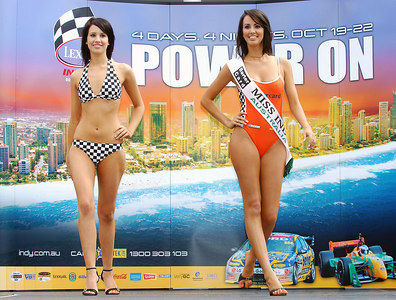 15 JUL 2006 TOWNSVILLE, QLD - Motorsport fans converged on Townsville's Entertainment & Convention Centre for the launch of the Lexmark Indy 300.  2006 Miss Indy contestant Jessica Passmore with 2005 Miss Indy Australia winner Jana Peterson - PHOTO: CAMERON LAIRD
