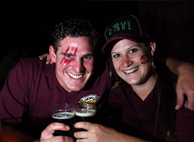 14 JUN 2006 TOWNSVILLE, QLD - State of Origin celebrations at Townsville's Riverview Tavern.  Brother and sister team Matty and Sonia Brandon show their support - PHOTO: CAMERON LAIRD (Ph: 0418 238811)