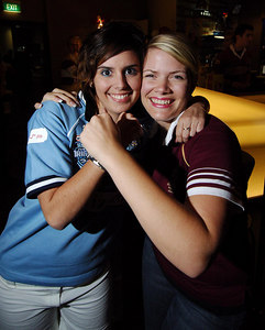 14 JUN 2006 TOWNSVILLE, QLD - State of Origin celebrations at Townsville's Riverview Tavern.  Blues fan Danielle Fisher and Maroons supporter Roslyn Fraser show their allegiance - PHOTO: CAMERON LAIRD (Ph: 0418 238811)
