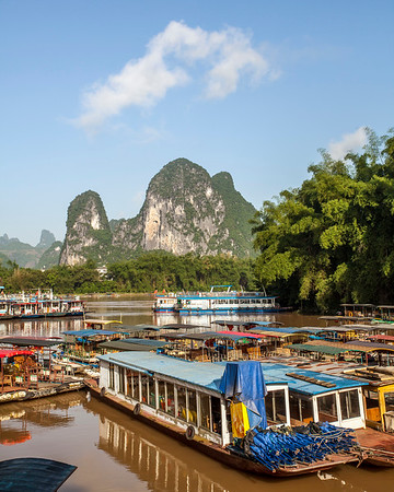 Boats on the Lijiang River