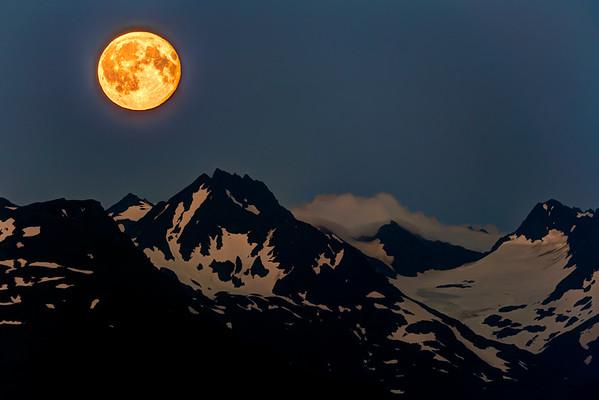 Full Moon over the Kenai Mountains