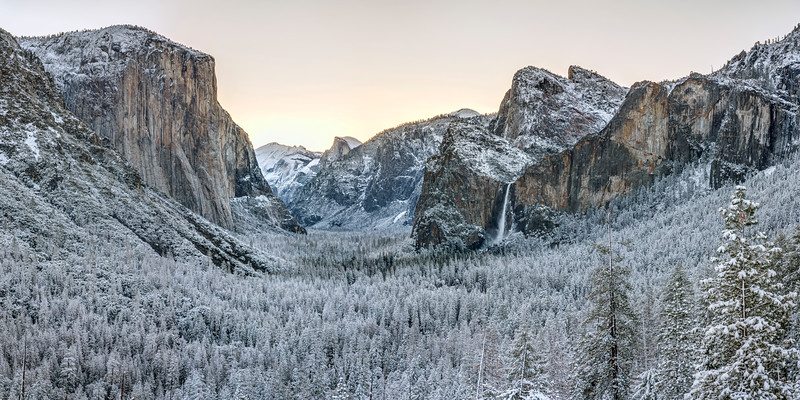 Snowy Sunrise Panorama in Yosemite
