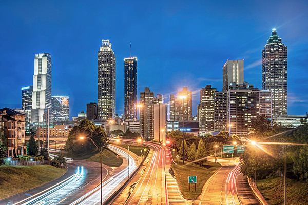 Atlanta at Night from the Jackson Street Bridge