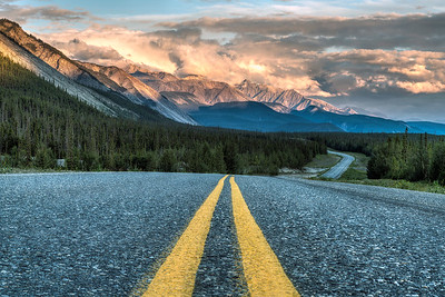 Sunset on the Alcan Highway