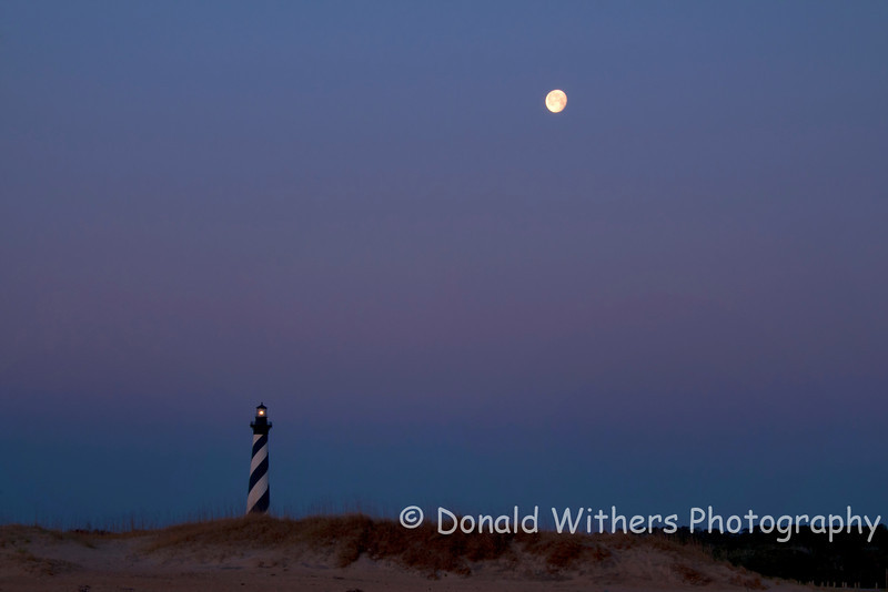 Setting Moon - Cape Hatteras Lighthouse