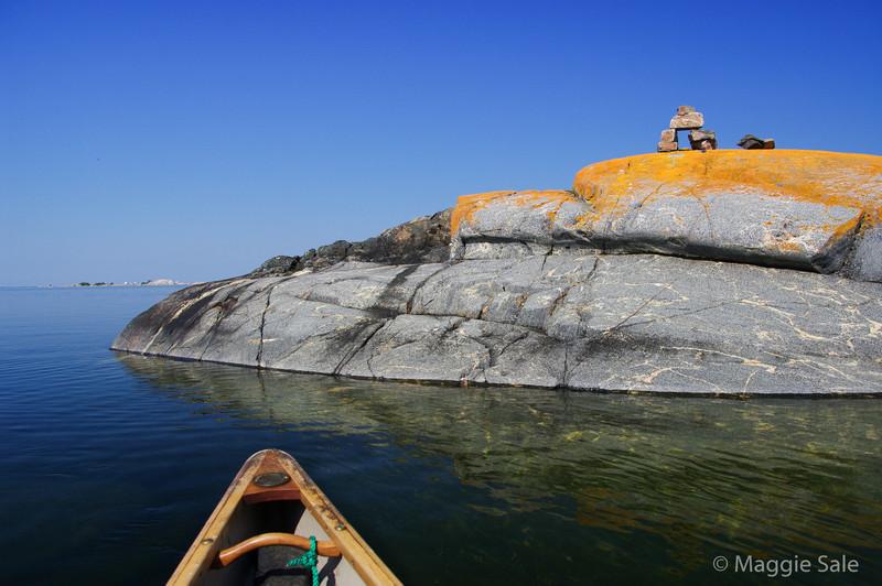 Approaching Inukshuk on Bustard Islands