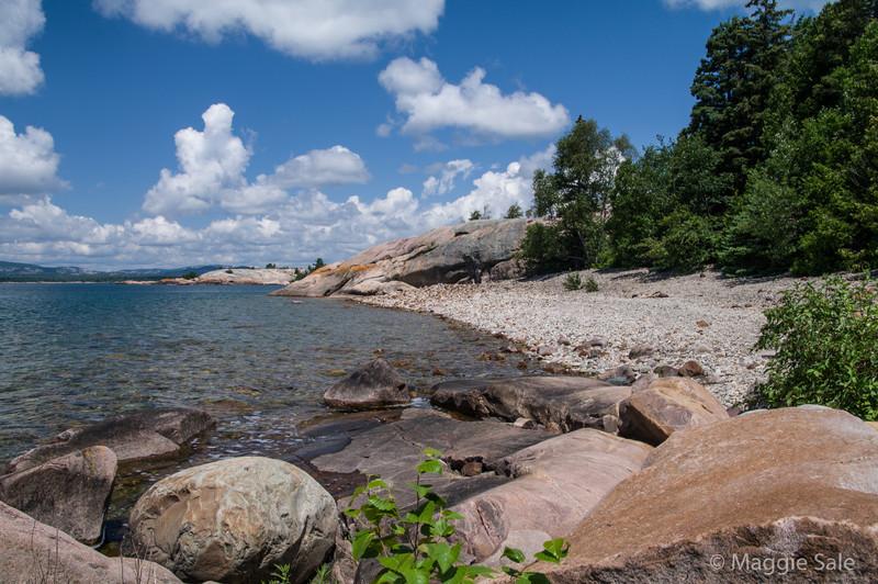 Cobble beach on W. Fox Island