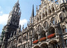 Neues Rathaus (New Town Hall) - from the eastern section (completed in 1874) - to the western section, which included the tower and spire (completed in 1909) - all an ornate limestone ornamentation in the Flemish Gothic style - Munich