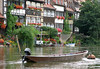 Klein Venedig (Little Venice) - with the half-timbered former fishermen's houses, with their balconies and tiny front gardens with mooring points for boats, along the Regnitz River - Bamberg