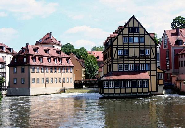 Buildings atop the Regnitz River - Bamberg
