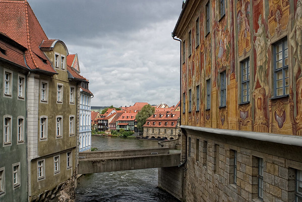 Down the Regnitz River - under the Untere Brücke (lower bridge), connecting the Altes Rathaus (Old Town House) - to the old Slaughter House and beginning of the Little Venice (fishermen's houses) - Bamberg