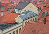 Clay tile roofs and brick chimneys of Bamberg