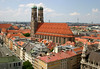 From the corners of Kaufingerstraße and Weinstraße - to the Frauenkirche (Church of Our Lady) - whose foundation stone was laid in 1468 and completed in 1488 (replacing a 13th century chapel) - the edifice measures 358 ft. (109 m) long, 131 ft. (40 m) wide, 121 ft. (37 m) high, and the towers rise to 325 ft. (99 m) above the Munich skyline.