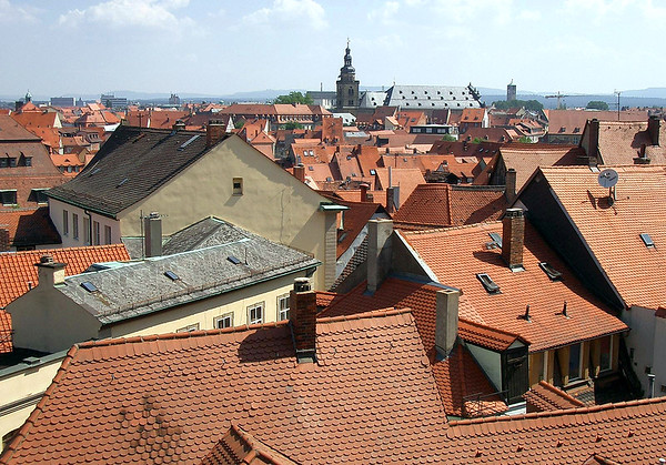 Across the clay tile rooftops - to the St. Martin Church - and the distal tower and spire of the Erlöserkirche (Erloser Church) - Bamberg